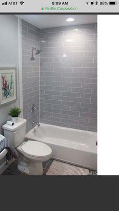 Bathroom Kids, Bathroom Renos, Bathroom Renovations, Small Bathroom, Blue Vanity, Upstairs Bathrooms, Wood Bridge, Subway Tiles, Bath Room