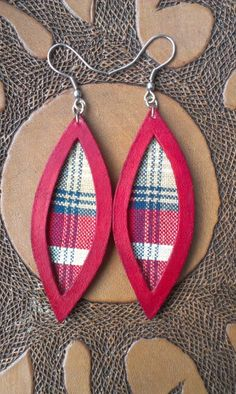 Week 11 - Earrings - Crimson dyed leather and fabric