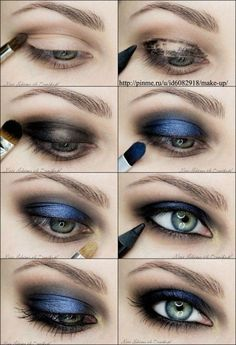 Metallic blue/navy blue smokey eyes.