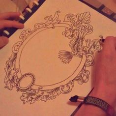 Ornate frame idea for a tattoo..I love the gem at the bottom. Could be an opal or a precious stone.