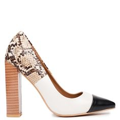 Beige high heel pump