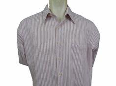 BCBG Attitude Dress Shirt Size 17 35 XL Button Front White Striped NWOT #BCBG