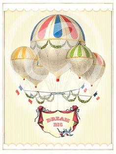 Dream Big, Hot Air Balloons - Art Print from Cartolina $18.00, @Kim Wood, downstairs bath