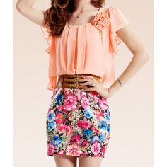 Women's Casual Scoop Neck Floral Print Beam Waist Short Sleeves Chiffon Dress, YELLOWISH PINK, ONE SIZE in Print Dresses | DressLily.com