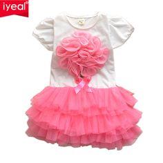 Nueva Flor 3D Summer Girls Tutu Dress Niños Ropa de Bebé Muchachas de la Ropa Infantil de La Muchacha de Baile Vestidos de Fiesta(China (Mainland))