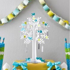 Baby blue green and white baby boy shower wishing tree decorations with paper birds and wall banner