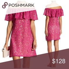 NWT, Eliza J Off-the-Shoulder Lace Fuchsia Dress Details:  Off-the-shoulder neck  Short flutter sleeves with all-around ruffle   Hidden back zip closure  Allover solid lace construction  Lined   Imported Self: 38% cotton, 33% nylon, 29% rayon  Lining: 100% polyester Hand wash cold BNWTA! Size 10 Gorgeous Fuchsia Color! Eliza J Dresses