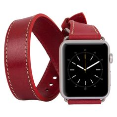 Apple Watch Double Tour Genuine Leather Band Strap, Husband Gift Wife Gift, Apple Watch Leather Band 42mm // Ruby by IstanbulLeatherShop on Etsy