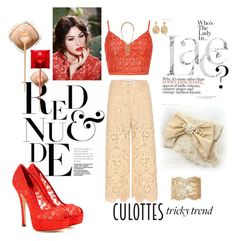 """Red and nude lace"" by agnesmakoni ❤ liked on Polyvore featuring self-portrait, New Look, Dolce&Gabbana, Aurélie Bidermann, Stella & Dot, TrickyTrend and culottes"