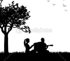 casal apaixonado, onde um cara toca guitarra no parque sob a silhueta da árvore — Vetor de Stock © Tinica #20396217