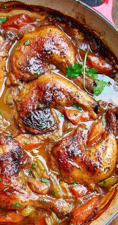Rustic braised chicken recipe with sweet carrots and onions, earthy celery and savory garlic. Whole Chicken Recipes Oven, Chicken Quarter Recipes, Chicken Drumstick Recipes, Healthy Chicken Recipes, Vegetable Recipes, Recipes With Chicken Quarters, Best Whole Chicken Recipe, Dutch Oven Chicken, Chicken Leg Quarters
