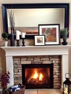 beautiful mantel decor!   #stone #fireplace #mantel