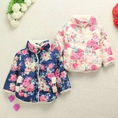 Baby Children Girls Floral Down Snowsuit Fleece Coat Clothes