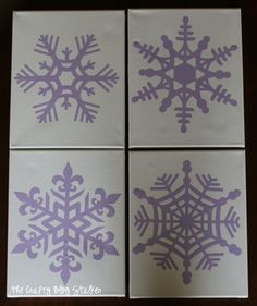 Snowflake Finger Painted Canvas | Acrylic Paint | kids craft | Cricut | vinyl | wall art | winter | Easy DIY Craft Tutorial Idea
