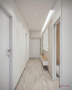 Dlhá svetlá chodba Home Room Design, House Rooms, Alcove, Bathtub, Interior Design, Bathroom, Furniture, Home Decor, Projects