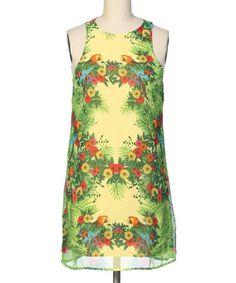 Look at this #zulilyfind! Yellow & Green Floral Parrot Shift Dress #zulilyfinds
