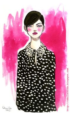 *Polka Dot*  Moschino Cheap and Chic pre-collection F/W 13-14  Watercolor, ink pen  Illustration by Camila Cerda