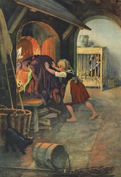(Hansel & Gretel) Gretel shoving the witch into the fire.Ever wonder why women and girls kill wicked witchs? Hansel And Gretel House, Hansel Y Gretel, Alphonse Mucha, Dark Fairytale, Classic Fairy Tales, Fable, Brothers Grimm, Vintage Fairies, Grimm Fairy Tales