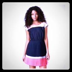Block Color: Navy Blue, Pink Pleated Dress!