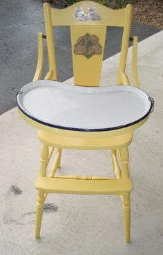 Classic 1940's high chair with enamel tray and original decals