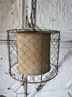 Burlap and Wire Cylinder Light