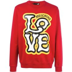Love Moschino Love Circus Sweatshirt ($130) ❤ liked on Polyvore featuring men's fashion, men's clothing, men's hoodies, men's sweatshirts, red and mens red sweatshirt