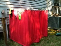 Outdoor changing room, for pool/sprinkler outdoor fun! Best part - no dripping through the house!