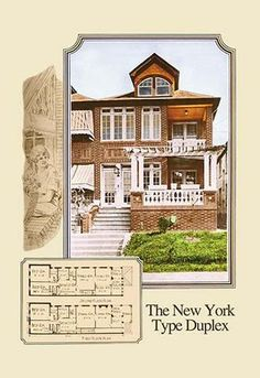 American commercial rendering of various business buildings with floor plans and with some drawings of the milieu
