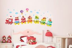 Wall Decals - YYone Colorful Train of Ice Cream Under Sky with Could Stars and Hydrogen Balloon for Nursery Room Wall Decor Decals
