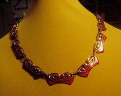 Vintage 1950s Matisse Renoir Copper Red Enamel Evening Link Necklace 8945