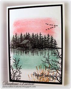 Versafine Onyx, Tim Holtz Distress Inks - Tattered Rose, Iced Spruce, Evergreen, Tea Dye, SU River Rock (inside)