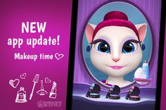 I'm soooo excited! Great news my #LittleKitties <3 It's time for makeup in my new app update. Check it out, xo Talking Angela #talkingangela #mytalkingangela #LittleKitties #makeup