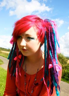 Bespoke Wool Hair Falls / Dreads....Pink and purple Fairy style..