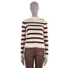 Isabel Marant Etoile mock-neck sweater in vanilla, black and raspberry red striped viscose and polyester with three buttons on the shoulder. Zip Sweater, Ribbed Sweater, Ermanno Scervino, Luxury Shop, Red Stripes, White Sweaters, Isabel Marant, Mock Neck, Coastal
