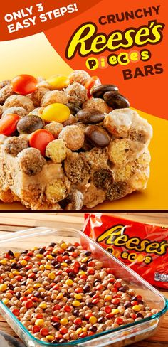 It doesn't get much easier than these no-bake REESE'S PIECES Candy and cereal treats. This cereal bars recipe is amplified with REESE'S Peanut Butter Chips and REESE'S PUFFS Cereal for an extra dose of peanut butter flavor. Try them as bars, pumpkins or balls for a crispy and sweet Halloween snack.
