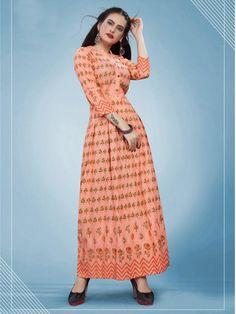 Branded Foil Print Designer Long Kurti in Peach Pakistani Bridal Dresses, Gowns Online, Peach Colors, Print Design, Stylish, Extra Fabric, Kurtis, Party, Rings