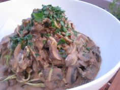 Delicious and Creamy Beef Stroganoff over Zucchini Noodles