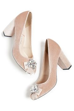7123dbcc9c6dba Pink velvet block heel pump with a jeweled ribbon bow at the toe