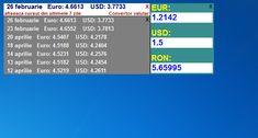 Afiseaza pe desktop cursul valutar actualizat LEI-USD-EUR + convertor intre aceste valute.