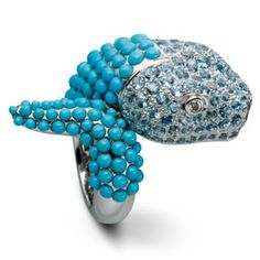Lydia Courteille Snake ring in white gold, aquamarines and turquoises