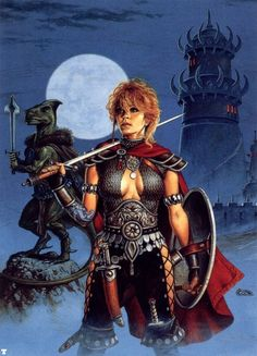 Clyde Caldwell. Ariel and Dragonbait the saurial paladin