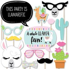 Amazon.com: Big Dot of Happiness Whole Llama Fun - Llama Fiesta Baby Shower or Birthday Party Photo Booth Props Kit - 20 Count: Toys & Games