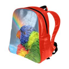 Rainbow Lorikeet Multi-Pockets Backpack. FREE Shipping. #artsadd #lbackpacks #parrots