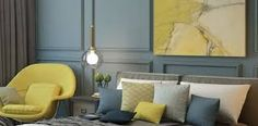 colour trend for 2017 denim blue bedroom with lime yellow chair, cushions and painting and grey bedding Blue Yellow Bedrooms, Blue Grey Rooms, Yellow Bedroom Paint, Blue Bedroom Colors, Bedroom Colour Palette, Bedroom Color Schemes, Blue Walls, Blue Dining Room Chairs, Yellow Chairs
