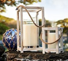 These are perfect! Portsmouth Wood Lanterns #Pottery Barn