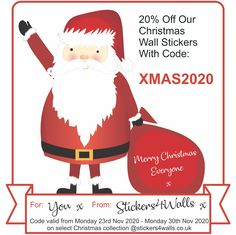 20% off our lovely Christmas Wall Stickers just for you with code XMAS2020 add this code at the checkout to receive your discount. Valid for the black friYAYYY week: Monday 23rd Nov 2020 - Monday 30th Nov 2020. Wishing you all a Merry Christmas! *Valid on our Christmas Collection wall stickers, please see more details on our website stickers4walls.co.uk #discountcode #christmasoffer #wallstickers #20percentoff #fatherchristmas #christmas #gifttoyou