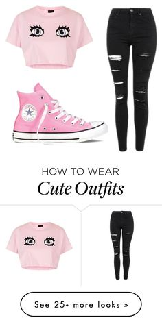 """Cute pink and black outfit"" by unicorn-636 on Polyvore featuring Topshop and Converse"