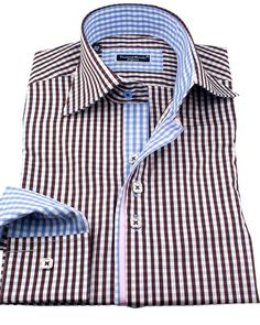 Men's designer plaid shirts - Silver vichy choco | UrUNIQUE.com