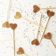 these gold glitter hearts are elegant cupcake toppers beautifully sparkling u0026 chic these shining