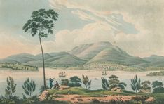 Distant View of Hobart Town, Van Dieman's Land [i. Van Diemen's Land] from Blufhead. Van Diemen's Land, Australia Capital, Penal Colony, Colonial Art, Australian Painting, Historical Pictures, Tasmania, History, World